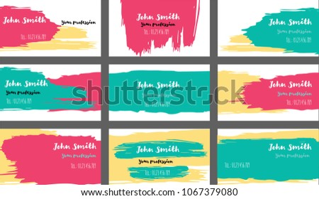Simple painted business cards vector templates stock vector simple painted business cards vector templates funky paint brush strokes cool banners set creative colourmoves