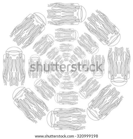 Simple  pattern jellyfish. Jellyfish background. Vector illustration - stock vector