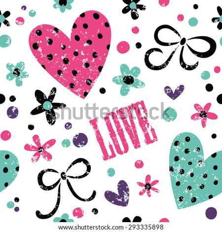 Simple pattern with hearts, bows and crowns. Great for girls, Valentine's Day, Mother's Day, wedding, scrapbook, surface textures. - stock vector