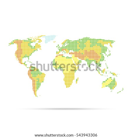 Simple physical world map indicating relief stock vector 543943306 simple physical world map with indicating relief dotted multicolor vector illustration isolated on white background gumiabroncs Images