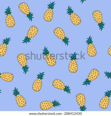 Simple pineapple seamless pattern. Hand drawn fruit. - stock vector