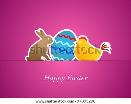 Simple pink easter card with egg, chicken and rabbit made from paper stripe-vector - stock vector