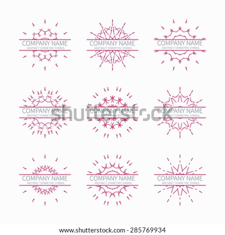 Simple pink geometric abstract symmetric shapes set. Modern business icon collection. Logo template. Hexagon round ornament. Vector symbols, emblems, element and logotypes. - stock vector