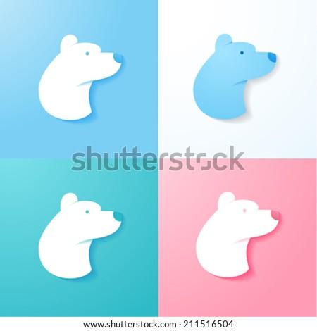 Simple Polar Bear - stock vector