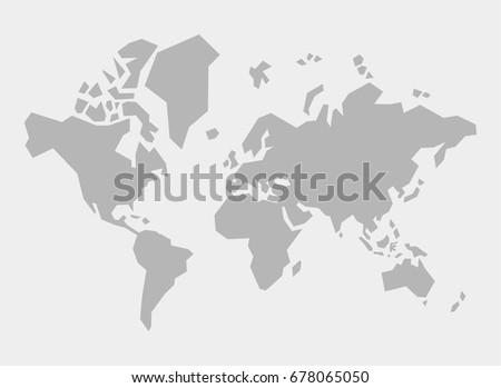 Simple Polygonal World Map Vector Illustration