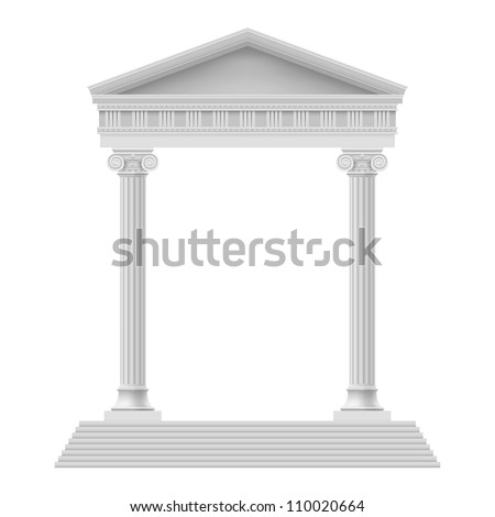 Simple Portico an ancient temple. Colonnade. Illustration on white - stock vector