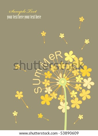 Simple postcard with dandelion patterns and letters.