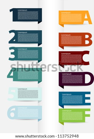 Simple presentations with letters and numbers - stock vector