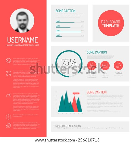 simple profile dashboard template with flat design graphs and charts
