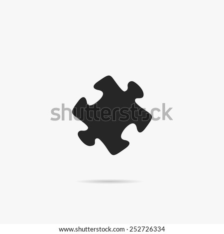 Simple puzzle icon. - stock vector