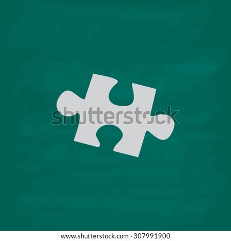 Simple puzzle. Icon. Imitation draw with white chalk on green chalkboard. Flat Pictogram and School board background. Vector illustration symbol