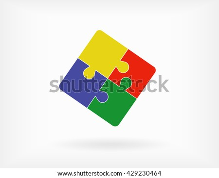 Simple puzzle icon. Vector EPS 10 - stock vector
