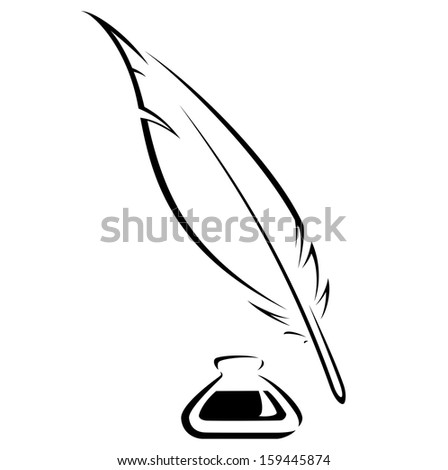 Simple quill and Inkwell black vector image - stock vector