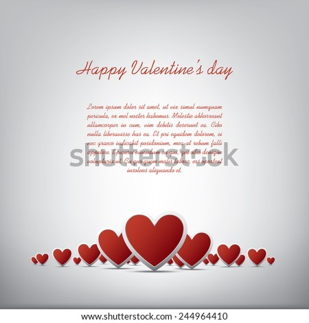 Simple realistic valentine's day hearts card design on white background and space for text. Eps10 vector illustration - stock vector