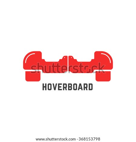 simple red hoverboard logo. concept of motor, innovation, sport, gyroscope, tire, street activity, machine gadget. isolated on white background. flat style trend brand design vector illustration - stock vector