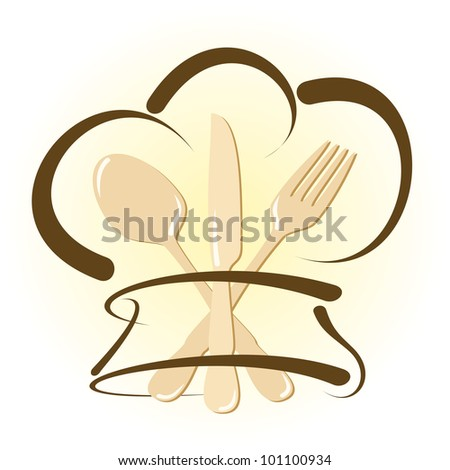Simple restaurant icon with cutlery and chef hat - stock vector