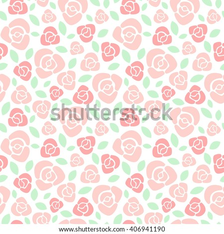 Simple roses floral vector seamless pattern. Flat design red roses with leaves texture. Soft pastel colors.  - stock vector