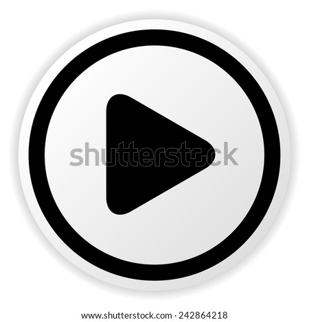 Simple rounded circle play button for multimedia, start video, music and activation concepts. - stock vector