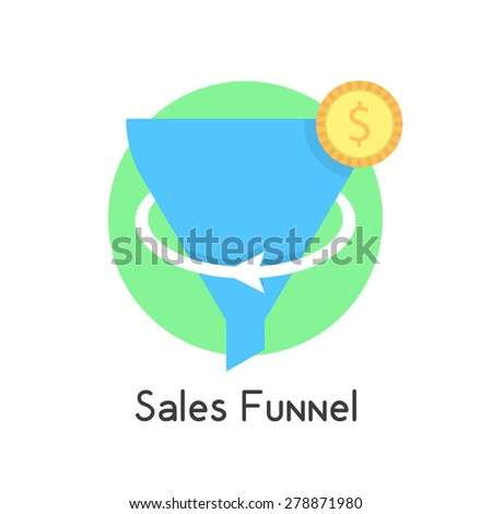 simple sales funnel in green circle with coin. concept of social network, e-commerce, plan, economy, stratagem. isolated on white background. flat style trend modern logo design vector illustration - stock vector