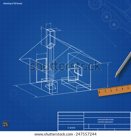 Simple scheme abstract 3d render of building house, vector illustration eps 10 - stock vector