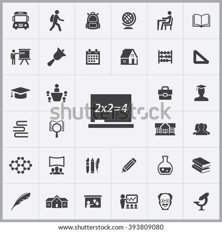 Simple school icons set. Universal school icon to use for web and mobile UI, set of basic school elements - stock vector