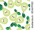 Simple seamless green pears background - stock vector