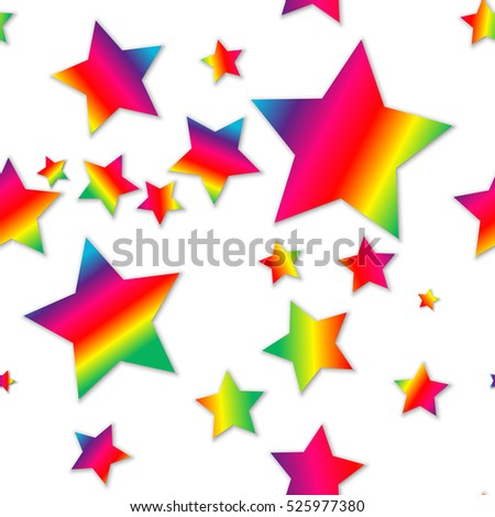 Simple seamless pattern - rainbow spectrum stars on white background with little shadow.