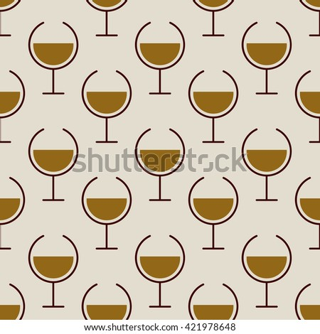 Simple seamless pattern with gold wine glasses for web, poster, textile, print, wall tile. Winery background. Vector illustration. - stock vector
