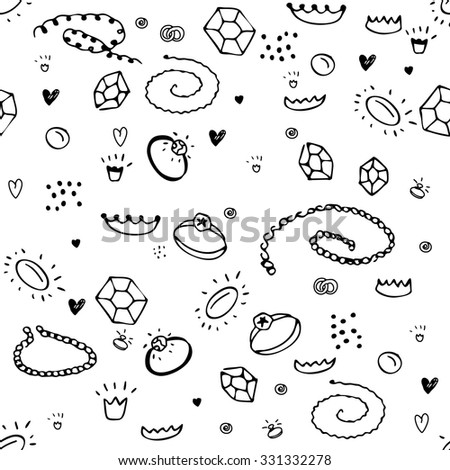 Simple seamless pattern with jewelry. Black and white colors. Endless texture for your design, announcements, postcards, posters. - stock vector