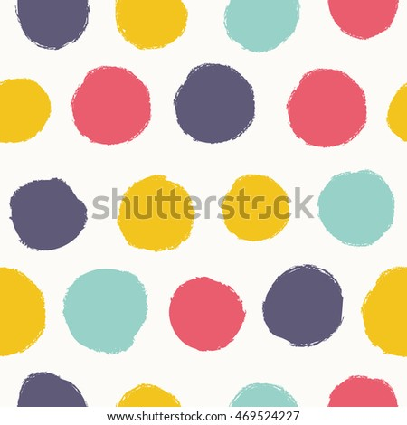 Simple seamless pattern with polka dots. Hand drawn. Background can be used for wallpapers, pattern fills, web page backgrounds, surface textures.