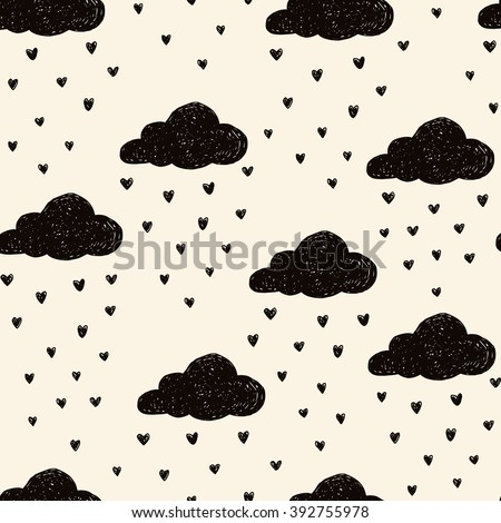 Simple seamless pattern with raining clouds. Vector - stock vector