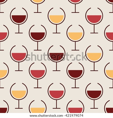 Simple seamless pattern with variation of wine glasses for web, poster, textile, print, wall tile. Winery background. Vector illustration. - stock vector