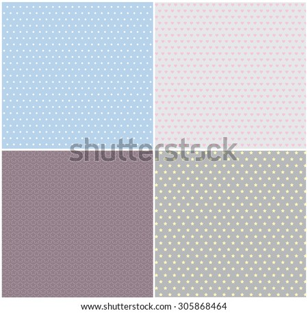 Simple seamless patterns - stock vector