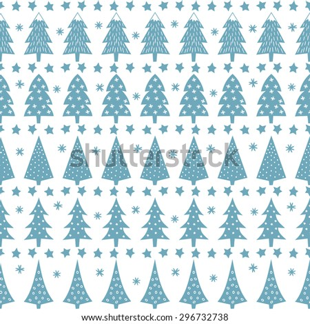 Simple seamless retro Christmas pattern - varied Xmas trees, stars and snowflakes. Baby blue Happy New Year background. Vector design for winter holidays. Child drawing style trees. - stock vector