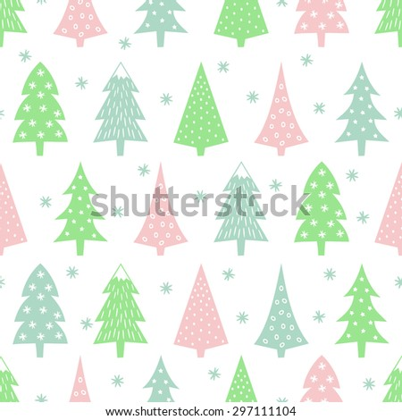 Simple seamless retro Christmas pattern - varied Xmas trees, stars and snowflakes. Happy New Year background. Vector design for winter holidays on white background. - stock vector