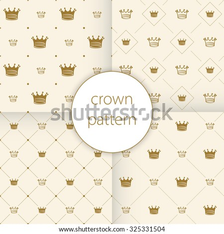 Simple seamless vector pattern with crown art