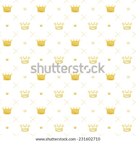 Simple seamless vector pattern with crown symbol art decoration - stock vector