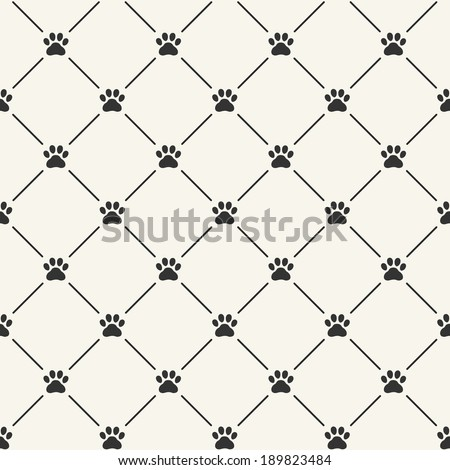 Simple seamless vector pattern with paw prints - stock vector