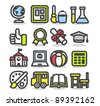 Simple series | school,education,research icon set - stock vector