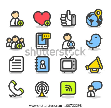 Simple Series | Social ,Network icon set - stock vector