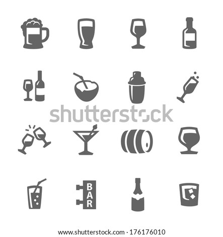 Simple set of alcoholic beverages related vector icons for your design - stock vector