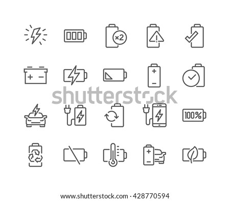 Simple Set of Batteries Related Vector Line Icons.  Contains such Icons as Car Charge Station, Recycle, Phone Charging, Battery Life Time and more.  Editable Stroke. 48x48 Pixel Perfect.  - stock vector