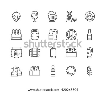 Simple Set of Beer Related Vector Line Icons.  Contains such Icons as Barrel, Six-pack, Keg, Signboard, Mug, and more.  Editable Stroke. 48x48 Pixel Perfect.  - stock vector