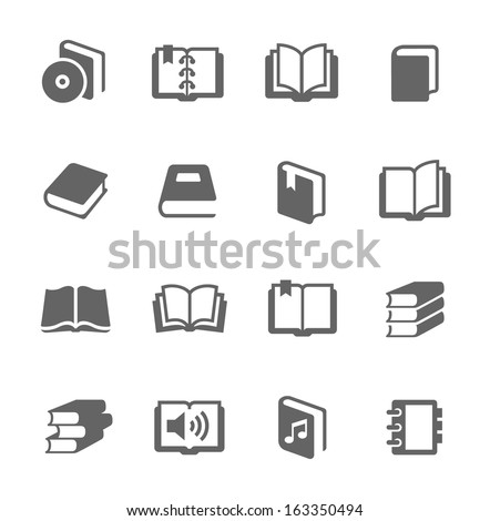 Simple set of books related vector icons for your design. - stock vector