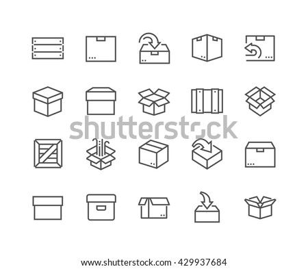 Simple Set of Box Related Vector Line Icons.  Contains such Icons as Open Box, Package Return, Wooden Crate and more.  Editable Stroke. 48x48 Pixel Perfect.  - stock vector