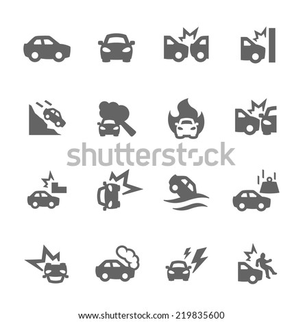 Simple Set of Car Crashes Related Vector Icons for Your Design. - stock vector