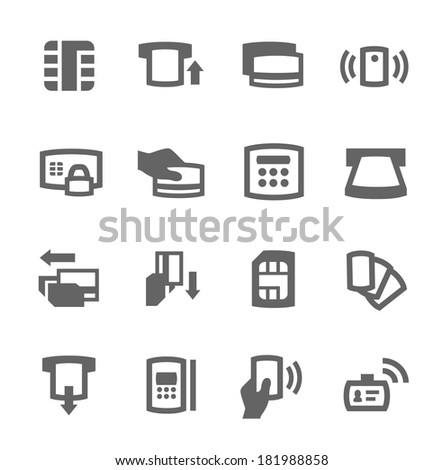 Simple set of cards related vector icons for your design - stock vector