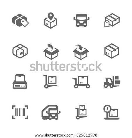 Simple Set of Cargo Related Vector Icons for Your Design. - stock vector