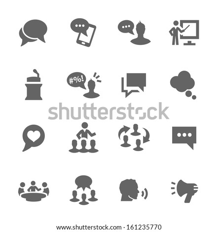 Simple set of communication related vector icons for your design. - stock vector