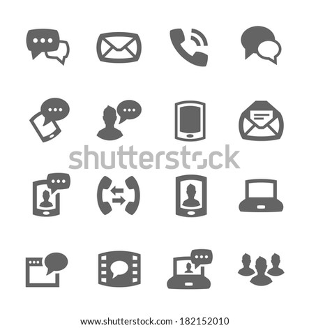 Simple set of communication related vector icons for your design - stock vector